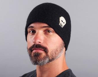 Skull Hat // Men's Wool Felt Winter Hat // Merino Wool // Gifts for Him // Punisher // Beanie // Tuque // Unisex // Felted Hat