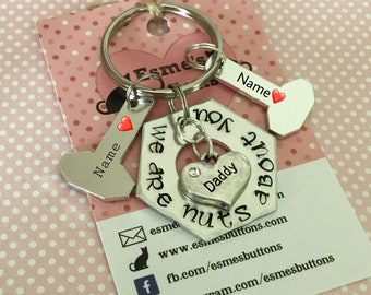 Fathers Day Gift, nuts and bolts gift, Dad gift, gift for Dad, Hand Stamped Key Chain, Gift for him, uk seller,