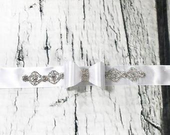 Fancy White and Silver Rhinestones and  Bow Sash / Bridal Sash / Maternity Sash / Wedding Sash / Pregnancy Sash / Baby Shower Sash