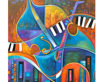 Large Abstract Painting Original Modern artwork City of Music Marlina Vera Art Expressionist cello jazz piano sax contemporary guitar musica