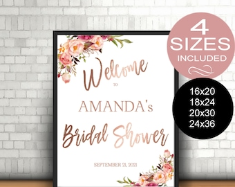 Bridal Shower Welcome Sign Template Reception Greet Guests Blush Rose Gold Printable, Welcome Poster Board DIY Template| VRD164BSR