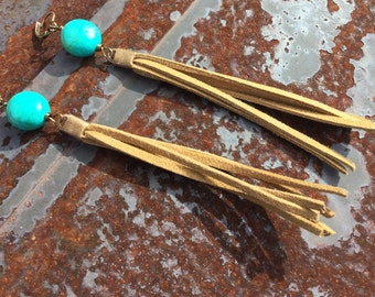Cowgirl Turquoise and Suede Tassel Boho Dangles  Cowgirl Glam Suede Tassel Earrings  Turquoise Earrings   Long Suede Tassel Earrings