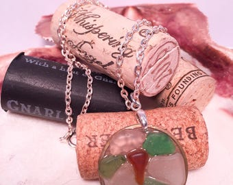 Sea glass necklace in clear epoxy all natural multicolored brown green clear hypoallergenic ocean gift