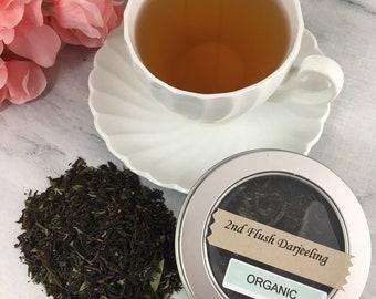 Second Flush Darjeeling Organic Black Tea Loose Leaf in Tin