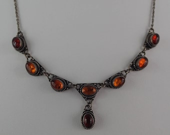 "Lovely Vintage Amber and Sterling 16"" Lavalier Necklace"