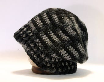 Hand Crocheted Slouch Beanie - Grey