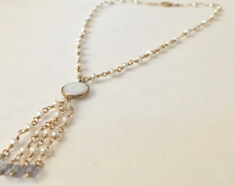 Freshwater pearl and iolite gemstone gold tassel necklace