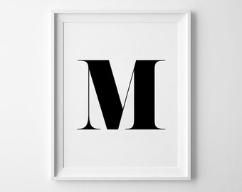 M Letter Print, Alphabet Prints, Capital Letter, Typography Wall Art, Black and White, Scandinavian House, Minimalist Style