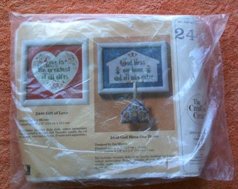 New Vintage Creative Circle God Bless Our Home Cross Stitch Kit Sue Miyata 1989 Embroidery Kit NOS