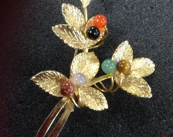 Vintage leaf beanch with varied stone beads pin