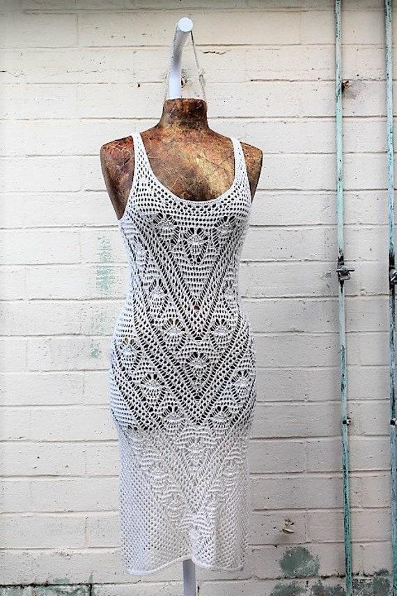 Vintage 70's White Dress Crochet Dress/White Bohemian Knit Dress/Macrame Dress/1970s knit dress/Hippie Dress/White Crochet Vintage Dress