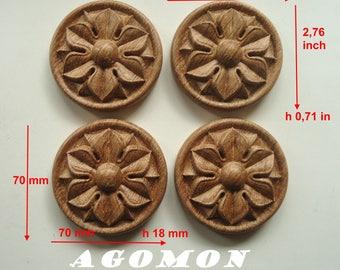 Wooden carved socket RCR-21, set 4 pieces, furniture lining, furniture and interiors decor, natural wood, oak