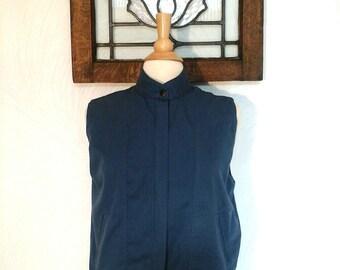 Mens Blue Vest Vintage 1980s Lightweight Vest - S