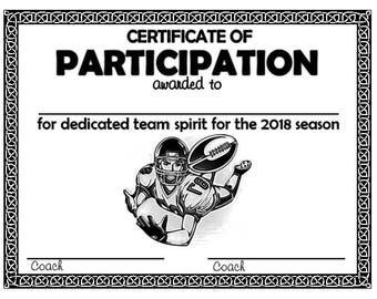 Item#035 - 2018 Football Sports Certificate - Digital Download