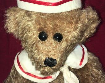 "Handmade collectible mohair teddy bear - Murphy, the Sailor 12 1/2"""