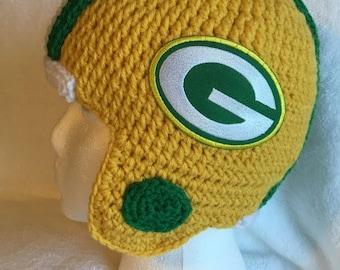Crochet Helmet hat for kids Green Bay Packers