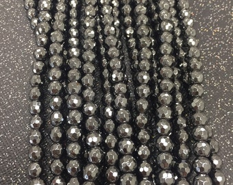 Hematite Faceted Beads,6mm Hematite Faceted,8mm Hematite Faceted,10mm Hematite Faceted,12mm Hematite Faceted,Faceted Hematite Beads,Hematite
