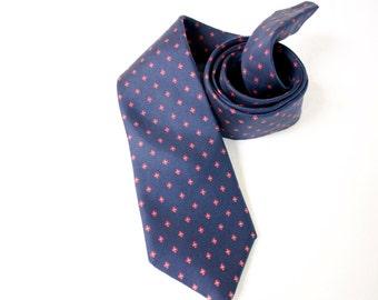Vintage Men's Necktie - 1970s Egon von Furstenberg blue necktie