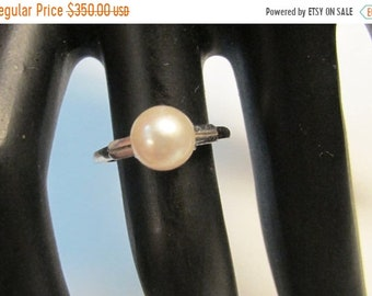 On Sale Vintage Estate Mikimoto 14K White Gold High Luster Pearl Ring