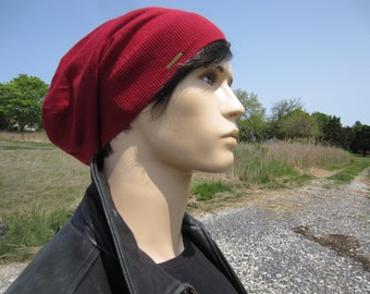 Slouch Hats for Men Deep Red Slouchy Beanie Tam Hat Bohemian Style A1111-2