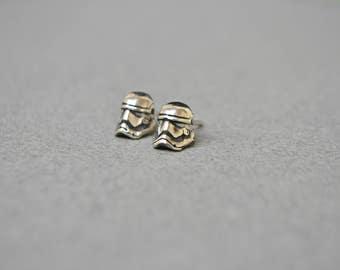 Stormtrooper Star Wars Earrings Jewelry, Sci Fi Geek Nerdy Star Wars 925 Sterling Silver Post Stud Tiny Earrings