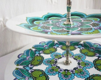 Large HAND-PAINTED 2 TIER cake stand