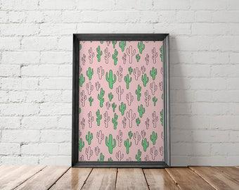 Cactus Print, Cactus Printable, Cactus Art Prints, Cactus Wall Decor, Boho Decor, Boho Poster