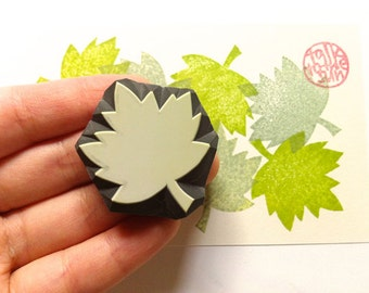 maple leaf rubber stamp   woodland stamp   autumn crafts   diy thanksgiving christmas   gift for her   hand carved by talktothesun