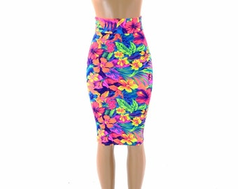 "27"" Long Tahitian Floral Neon UV Glow Bodycon Pencil Skirt -151523"