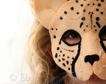 Cheetah Mask PATTERN // Kids Animal Mask Sewing Pattern// DIY Kids Party Mask.