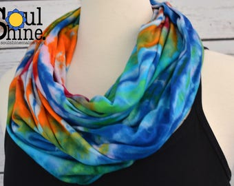 Organic TIE DYE Scarf Bamboo Infinity Scarves Classic Blue Spiral Eco Sustainable Fashion American Made Grateful Dead Acid Rainbow Grey Gray