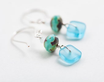 Sea Glass Earrings, Blue Sea Glass Earrings, Blue Sea Glass, Frosted Glass Earrings, Blue Silver Earrings, Beach Earrings, Summer Jewelry