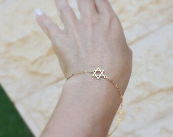 The star of david - Bat Mitzvah Gift Gold bracelet jewish jewelry - Star of david bracelet , sideways jewish star, ,meaning of star of david