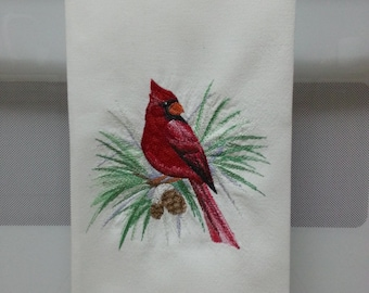Embroidered Cardinal Kitchen Towel/ Embroidered Cardinal/Cardinal on Branch Embroidered Kitchen/Tea Towel