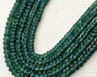 SUPER Super Finest Quality, Natural Chrome Green APATITE Faceted Roundells, Size 5-6mm Aprx.8 inch Long Strand