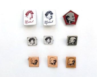 Vladimir Lenin pins, Soviet Union metal pin badge, Vintage Russian memorabilia 1970s, communism propaganda USSR red flag
