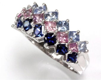 3 ct tw Natural Multicolor Sapphire Gold Ring