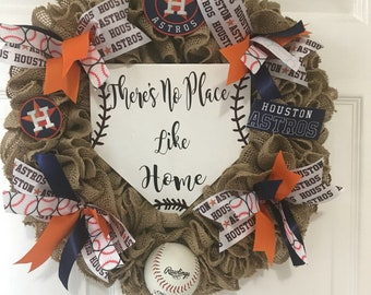 Baseball Wreath, Astros Wreath, Sports Wreath, Burlap Wreath