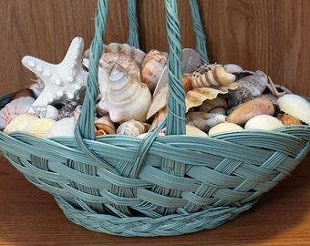 Home Decor, Table Centerpiece, Beach Decor, Coastal Decor, Beach Centerpieces, Wicker Basket, Basket of Shells, Shell Basket,Seashell Basket