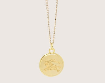 Re-Purposed Shiny Gold Burberry Necklace Engraved Vintage Logo Button Pendant Chain