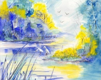 Egrets, watercolor landscape painting print, watercolor art, marsh painting, river watercolor, egret painting, nature painting, scenic art