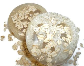 Oatmeal & Honey Soap, Loofah Exfoliating Soap, Aromatherapy, Glycerin, Exfoliating Loofa Soap, Round Shower Soap, Soap Scrub, Oatmeal Scrub