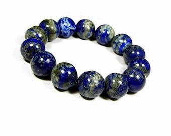 10mm Blue Lapis Lazuli Bracelet, Natural LAPIS LAZULI, Lapis Bracelet, Natural Stone Bracelet,Beaded Stretch Bracelet,Gemstone Yoga Bracelet