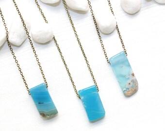 Blue Agate Necklace, Gemstone Necklace, Blue Gemstone Jewelry, Light Blue Stone Necklace, Healing Jewelry, Chakra Stone Necklace