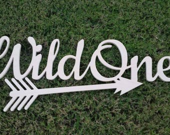 wild one wood sign, wild one arrow sign, wild one calligraphy sign