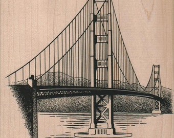 Rubber stamp Golden Gate Bridge wood Mounted  scrapbooking supplies number 4167