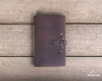 THE EXPLORER: Rustic hand-bound leather notebook or travel journal