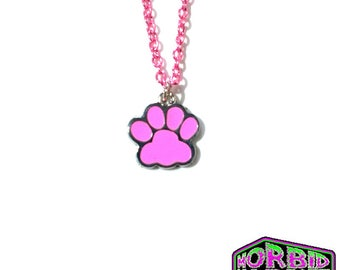 Dog Paw Pink Chain Necklace