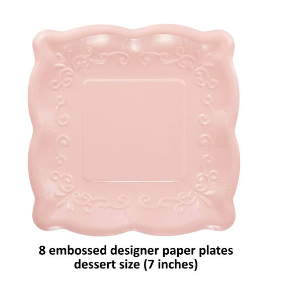 pretty pink plates embossed tableware fancy paper dessert dishes pink lemonade party princess decorations girls baby shower wedding  sc 1 st  Etsy & pretty pink plates embossed tableware fancy paper dessert