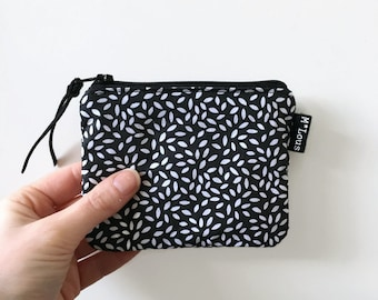small minimalist zipper pouch coin pouch black and white small wallet make up bag zipper purse tiny wallet travel purse retro pocket money
